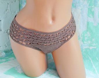 Crochet bikini bottoms Crochet panties Coffee crochet bikini Crochet lingerie Boho lingerie Boho bikini Boho panties Gypsy bikini Lace pants
