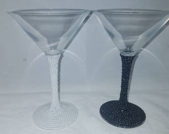 wedding gifts, martini glasses, embellished glass, engagement gifts, anniversary gifts, cocktail glasses, gifts for weddings,