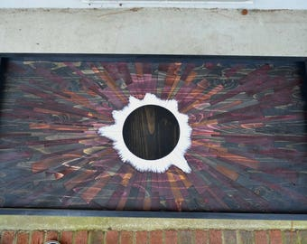 "wood art - ""Dark Matter"" - eclipse, wood wall art, stainsandgrains, Jeremy Gould, modern art, cool art, unique wood, wood signs, wood slice"