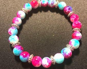 Pink and blue beaded bracelet // marbled stretch bracelet // silver accent bracelet (Trisha)