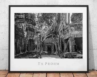 Temple Ruins Travel Poster, Cambodia Photography Print, Ta Prohm Photo, Asia History Wall Decor, Archaeology Ruins Wall Art, Siem Reap Photo