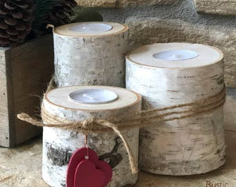 Birch Wood | Rustic 3 Tealight Candle Holders | Rustic Valentine's Decor