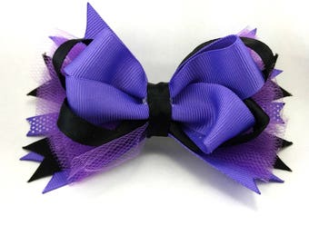 "5"" Purple and Black Stacked Halloween Bow, Boutique Bow with Tulle, Halloween Bow, Girl's Hair Bow, Purple Ribbon Bow, Halloween Hair Bow"