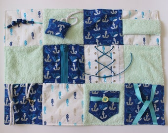 Fidget Blanket - Nautical - Dementia Alzheimer's - Fidget Quilt - Sensory Blanket - for men - Lap Pad - Activity Blanket LLBQ-007BLSF