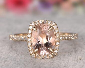 Solid 14k Gold Ring, 7x9mm Morganite Engagement ring set Yellow gold,Diamond wedding band,Gemstone Promise Bridal Ring,Halo,Prongs