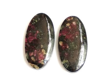 Eudialiyte Oval Pair Cabochon,Size- 25x12, MM, Natural Eudialiyte, AAA,Quality  Loose Gemstone, Smooth Cabochons.