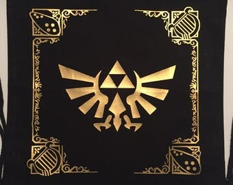 "The Legend Of Zelda: Ocarina Of Time inspired 13"" x 14"" Black drawstring backpack"
