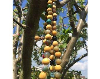 Mala beads: Wood with Various Precious Stones