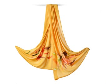 Hand-painted yellow silk crepe scarf.