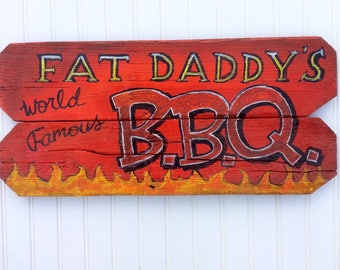 Bbq,barbeque sign.mancave,patio or kitchen ready. colorful and Handpainted on reclaimed wood.