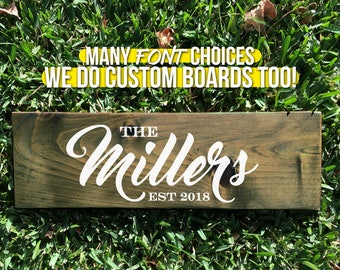 Family est wood sign, Family est sign, Last name est sign, Family name sign, Family plaque, Last name plaque, personalized sign (WD0001)