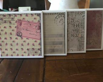 Rustic/Chic/Shabby Decorative Tile Coaster Set