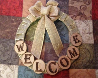 Wood Slice Welcome Wreath