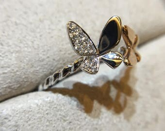 Gold Twin Butterfly Diamond Ring - 18K White + Rose Gold, 14 Round Diamonds - Cute, Delicate