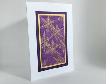 Gold snowflakes on purple embossed blank card, individually made on hand-painted paper: A2, notecards, fine cards, winter, SKU BLA7....