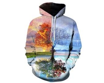 Tree Hoodie, Outdoor Hoodie, Tree Sweatshirt, Nature Hoodie, Art, Hoodie Art, Hoodie Pattern, Pattern Hoodie, Hoodie, 3d Hoodie - Style 13