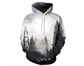 Tree Hoodie, Outdoor Hoodie, Tree Sweatshirt, Nature Hoodie, Art, Hoodie Art, Hoodie Pattern, Pattern Hoodie, Hoodie, 3d Hoodie - Style 15