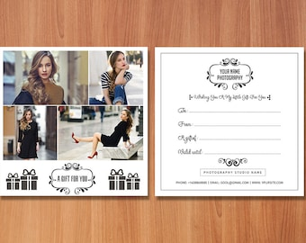 Photography Gift Certificate Template, Gift Card Template, A gift for you,Photography Template,Gift Certificate,Gift Card,Photoshop Template