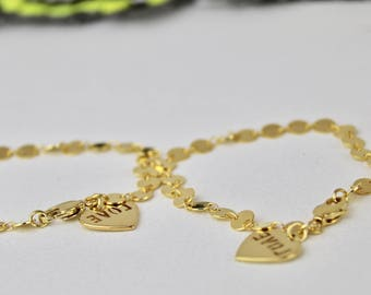 Love Heart Charm Gold Bracelet. Gold Hand Chain.