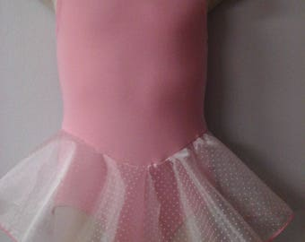 Girls Pink Lined Leotard w/Attached Single Layer Skirt Sizes 2-16 Brand New Professionally Made