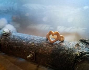 Valentine's day ring ** Wooden ring ** Fir wood ring **