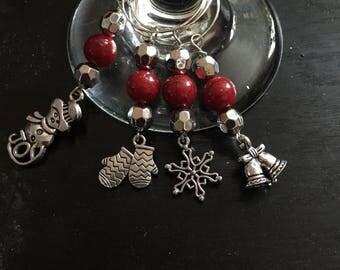 Christmas wine glass charms set of 4