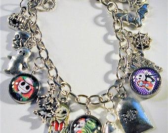 Nightmare Before Christmas Inspired Charm Bracelet OOAK