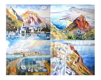 Art Card of original Watercolor painting, Landscape painting, Mountain, Set of 4 Cards 5x7, Italy, Greece, Bugaria, Sicily