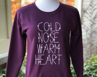 Cold Nose Warm Heart Women's Fleece Crewneck Sweatshirt