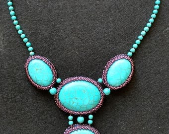 Exclusive handmade turquoise blue and purple  beaded necklace