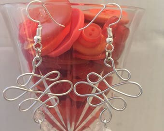 Wire and clear bead earrings
