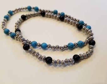 Blue Turquoise and Black Onyx Anklet