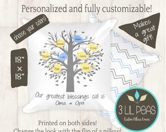Oma and Opa Gift, Grandma Pillow, Personalized Grandparents Gift Pillow, Mother's Day Gift for Grandma, Custom Grandparents Gift
