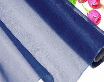 100% Real Silk Organza Fabric Colbat Blue Natural Silk Material for Wedding Bridal Dress (yza11039 X Yards /Meter or samples)