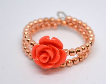 Pink Coral Beads Ring
