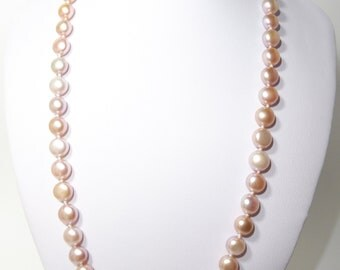 14K Solid Gold Freshwater Pearl Necklace + Bracelet set-Length 44.5/18cm