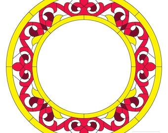 Stained glass PDF pattern vitrage design tiffany frame circle