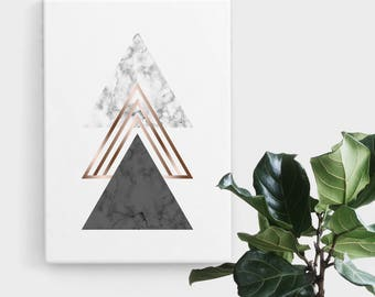 Rose Gold Marble Triangle Print, Print Art, Geometric Art, Abstract Art, Scandinavian Print, Minimalist Art, Digital Art, Printable Art