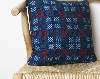 Blue, Red and White Welsh Tapestry Cushion