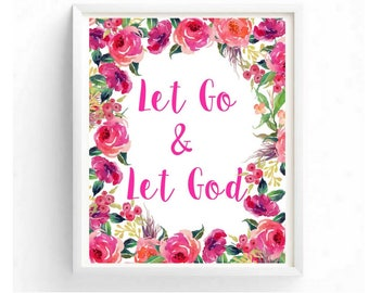 Printable art, Let Go and Let God, Typography