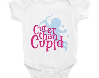 Cuter than Cupid - Cute Valentines Day Baby Onesie, Unisex Infant Bodysuit, Newborns