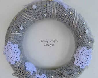 Large Crochet Christmas, Snowflake Wreath