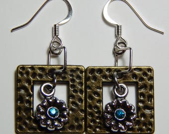 Framed Flower Earrings with Surgical Steel Earwires