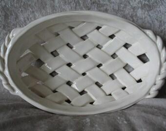 Handmade White Ceramic Weave Bread Fruit Basket Bowl