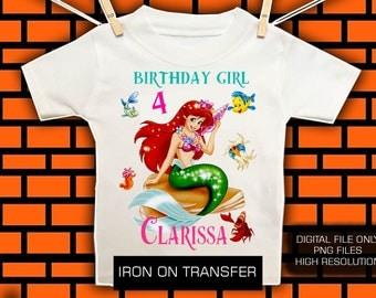 Little Mermaid Iron On Transfer / Little Mermaid Birthday Shirt DIY Transfer / Mermaid Transfer / Digital file/ High Resolution