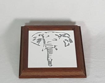 Elephant head stencil etched mirror! Light up elephant face stencil design! Small, only 8x10!