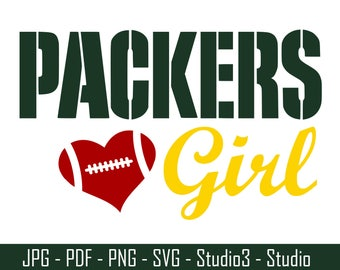 Packers Girl, Green Bay Packers, Football, NFL - Cut Files - SVG, PNG, Studio, Studio3 - Silhoutte and More - CS058