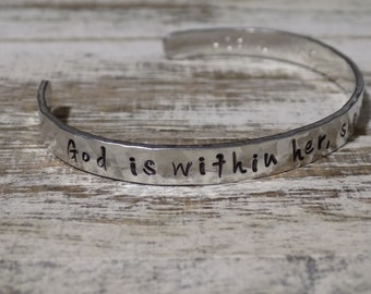 God Is Within Her, She Will Not Fail Aluminum Bracelet