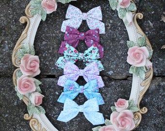 Sailor bow - easter hair bow - floral hair bow - vintage floral bow - fabric hair bow - nylon headband - infant hair bow - pastel floral bow