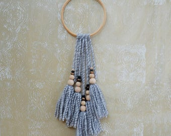 tassel wall hanging//wall art//boho wall hanging//grey wall hanging//grey marle wall hanging